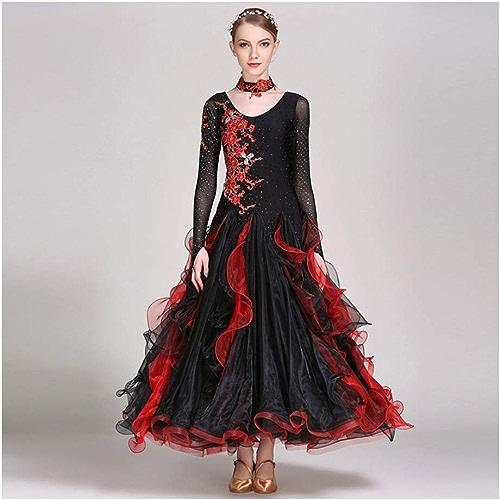 Danse Moderne Costumes Valse Perforhommece Jupes Danse Moderne Jupes GB Dance Competition Suits (Couleur   Noir, Taille   S)