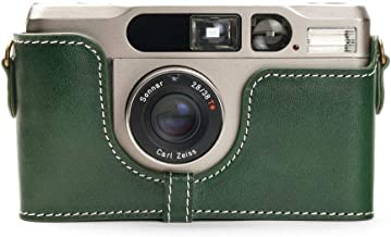 Handmade Genuine Real Leather Half Camera Case Bag Cover for Contax T2 Green Color