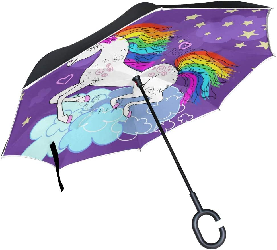 Windproof Beautiful Rainbow Unicorn Popular shop is the lowest price challenge National uniform free shipping Reverse Outdoor Umb Umbrella