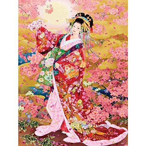 Diamant Schilderij 5D DIY Volledige Boor Kit Bloem Kimono Meisje Volledige Boor Strass Cross Stitch Arts Craft Muur Décor 11.8 inch * 15.7 inch (Frameless)