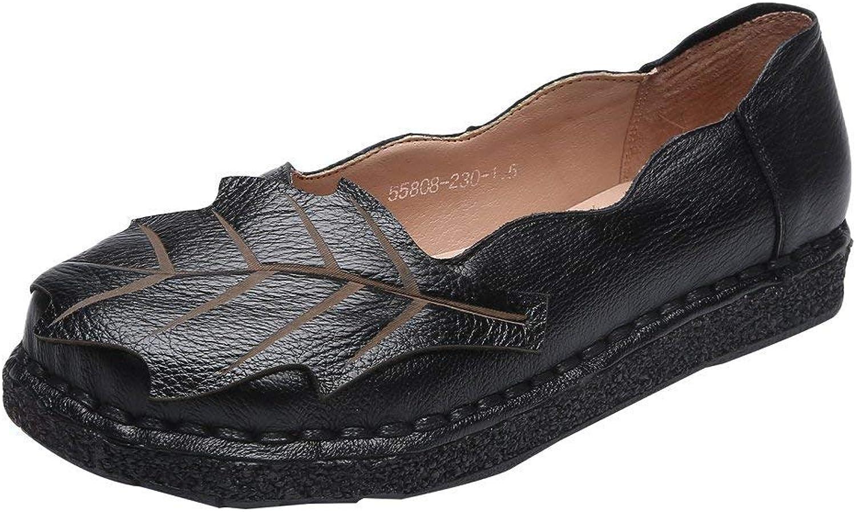 ZHRUI Damen Frühjahr Herbst handgefertigte Loafer Flache Stiefel Stiefel Stiefel Mokassins Schuhe (Farbe   Schwarz, Größe   5 UK)  1a6db8