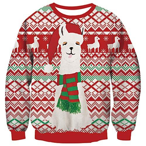 TUONROAD Weihnachtspullover Herren Hässliche Alpaka 3D Druck Weihnachten Pullover Unisex Komfortabel Ugly Christmas Sweater Langarmshirt Rundhals Xmas Sweatshirt Jumper - S