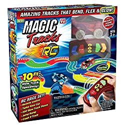 Construct your speedway track and let the fun begin! The remote control car puts you in the drivers seat. The car includes 6 extreme functions: stop, reverse, go turbo! flash the lights, beep the horn & more
