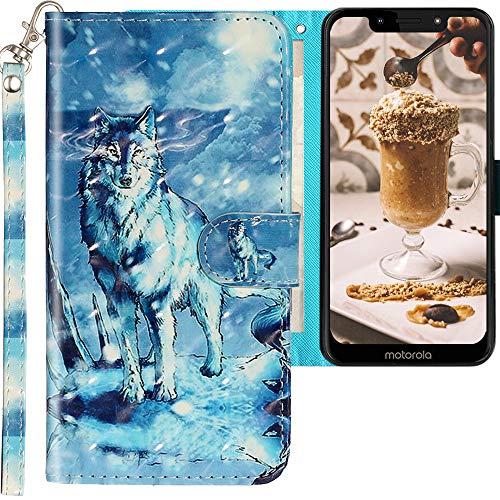 CLM-Tech Hülle kompatibel mit Motorola Moto G7 Play - Tasche aus Kunstleder - Klapphülle mit Ständer & Kartenfächern, Wolf Schneeberg blau