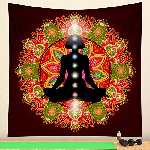 India Buda Meditación Chakra Tapiz Decoración de Pared Mandala Tapiz Brujería Bohemia Paño de Pared Colgante de Pared A3 180x200cm