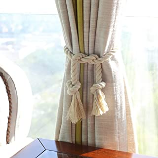 JQWUPUP Cotton Rope Curtain Tiebacks - Rustic Outdoor Curtain Holdbacks Holders - Hand Knitting Drapery Tie Backs for Shee...