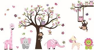 ufengke Animal Tree Wall Stickers Elephant Giraffe Wall Decals Art Decor for Kids Bedroom Nursery DIY