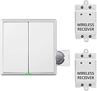 2 Way Wireless Light Switch and Receiver Kit with RF 433MHz transmitting signal and Max Load 1100W for Remote Control House Lighting