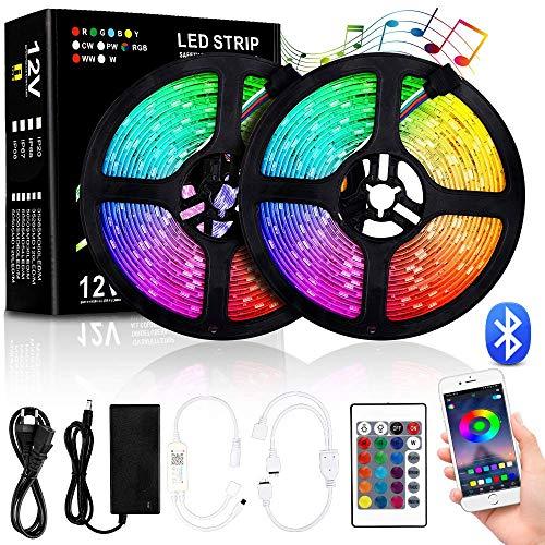 LED Strip 10M, RGB LED Stripes mit Bluetooth Kontroller Sync zur Musik, IP65 Wasserdichte LED Streifen Fernbedienung 44 Tasten, Ein-Tasten-Dimmen für Weihnachten Feiertage Heim Küche Auto Dekoration
