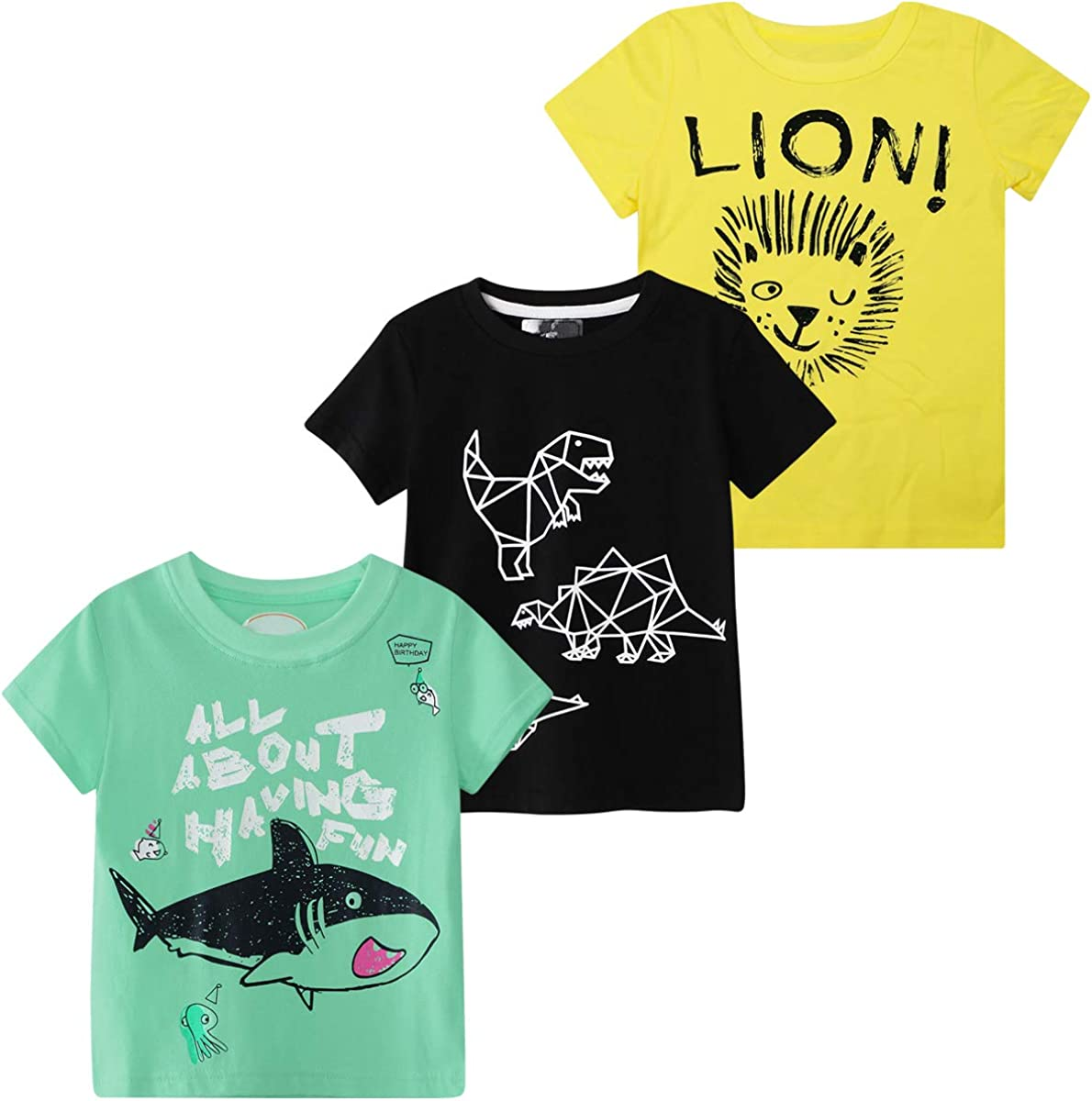 DEEKEY Toddler Little Boys 3-Pack Short Sleeve Graphic T-Shirts Top Tee Size for 2-7 Years