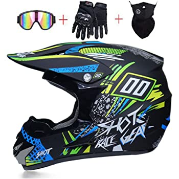 Blue Octopus Print L Adult Motorcycle Motocross Helmet Set Motorbike Off Road Crash Helmet Protective Gear AMITD Full Face MTB Helmet with Goggles Gloves