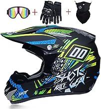 LEENY Motocross Crash Helmet with Goggles Mask Gloves Motorcycle Off-Road DH Enduro Racing Downhill Dirt Bikes MTB ATV BMX Quads Motorbike Helmet for Adult Men Women,Orange*Yellow,S