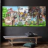 KWzEQ Colección de Personajes de Dibujos Animados clásicos japoneses decoración de Lienzo Moderna Pintura impresión decoración del hogar Pintura,40X80cm,Pintura sin Marco