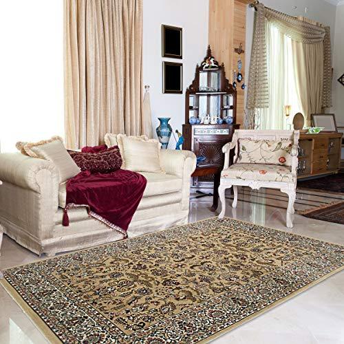 mynes Home Moderner Orient Teppich Klassisch Gemustert Vintage Orientalischer Design Kurzflor dicht gewebt qualitativ in Beige (40 x 60 cm)