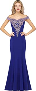 Long Gold Lace Applique Mermaid Prom Dress Off Shoulder Formal Evening Gowns