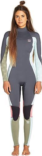 BILLABONG Junior Filles Furnace Synergy 3 2 mm Retour Zip Flatlock Wetsuit écume - Les Couches de la Couche de Chaleur Chaud Thermique Rapide à Dry