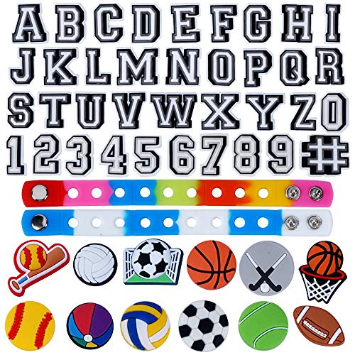 TopLAD 49pcs Letters Ball Number Shoe Charm and 2 bracelet for for Clog Shoes Wristband Bracelet