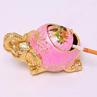 YANBA Creative Personality New Elephant Ashtray with lid Cigarette Ashtray for Indoor or Outdoor Use, Ash Holder for Smokers (Pink)
