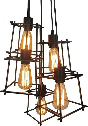 Haoaijia Lustres Village voitureré Pendentif Salon Lumière Loft Du Quartet Fer éclairage Chambre Balcon, 3 Lampe