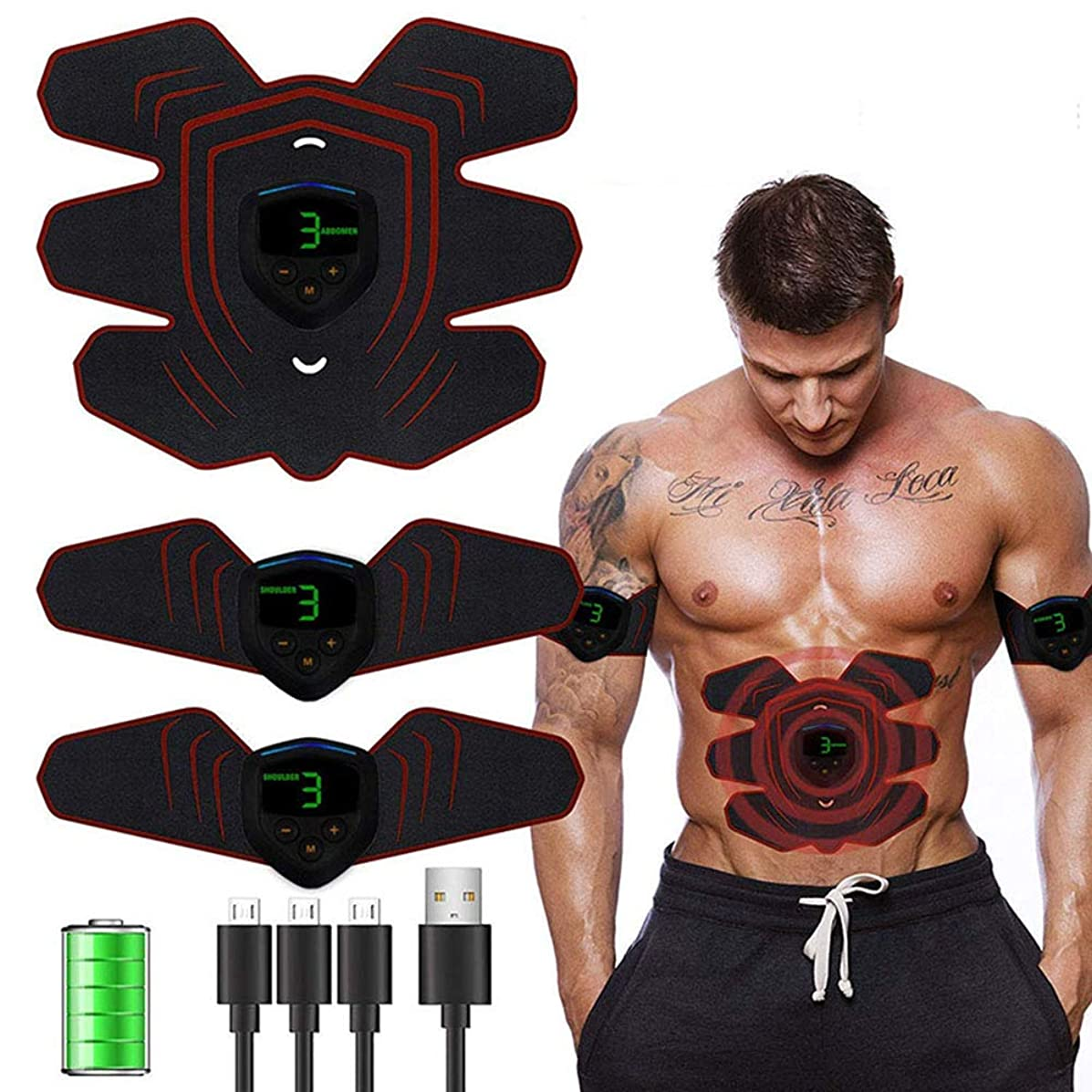 借りている導入するシャークUSB充電式 腹筋ベルト EMS 腹筋トレニング 腹筋トレ 腰部 お腹ダイエット ウエストダイエット 腹筋シックスパッド 腹筋マシーン