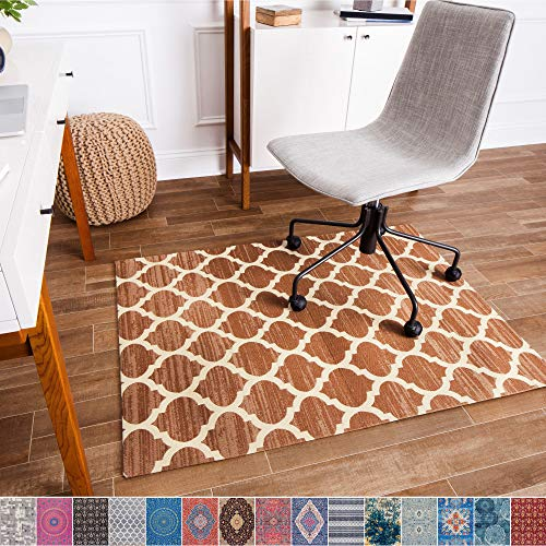 Anji Mountain Chair Mat Rug'd Collection, 1/4' Thick - For Low Pile Carpets & Hard Surfaces, Nizwa , Brown and Ivory Trellis