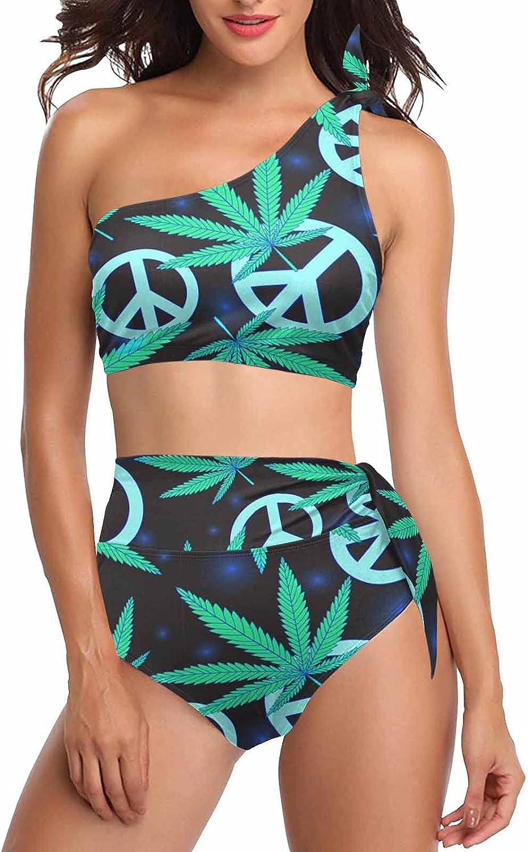 InterestPrint Cannabis Leaves and Peace Symbol Women 2 Pieces Bikini Sets Tie One Shoulder Swimsuit Tankini