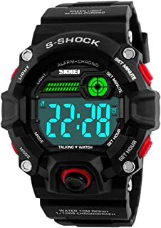 Men Outdoor English Talking Watch LED Digital Military Wristwatch with Silicone Band Voice Broadcast Time Watches