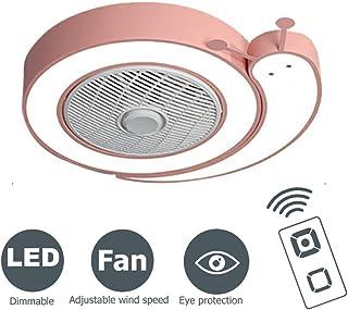 LMYMX Silencioso Ventilador de Techo LED Lámpara, 46W Regulable Luz de Techo Ventilador Invisible, Fan Lámpara Adecuado para Sala De Estar Dormitorio Habitación Infantil, Rosa, Ø58cm
