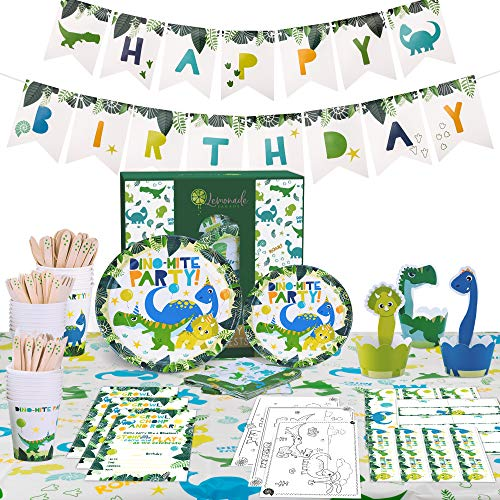 Lemonade Parade - Dinosaur Party Supplies Set  Dinosaur Birthday Party Supplies - Serve 16 - Includes Dinosaur Plates Big & Small, Cupcake Toppers & Wrappers, Cutlery, Pre-Strung Birthday Banner, Large Dinosaur Cups, Table Cover, Dinosaur Invitations and More for a Dinosaur Party.