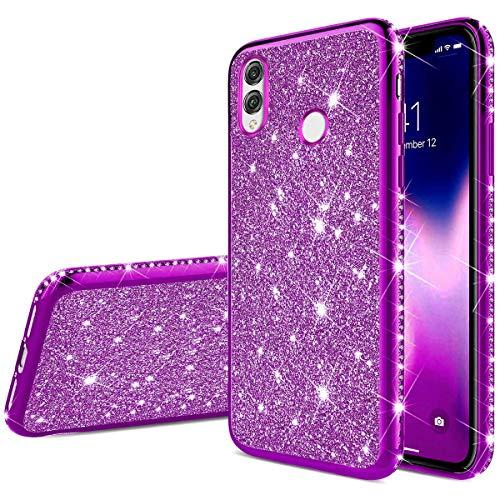 Robinsoni Funda Compatible con Huawei Honor 8X MAX Caja Brillo Suave Silicona TPU Gel Goma Funda Ultra Suave Bling Caso Ultra Delgada Carcasa Protectora con Parachoques Glitter Sparkle Case,Púrpura