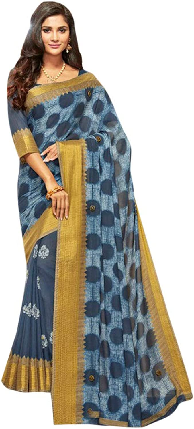 Indian Ethnic Big Border Saree With Blouse Designer Casual Wear 7164