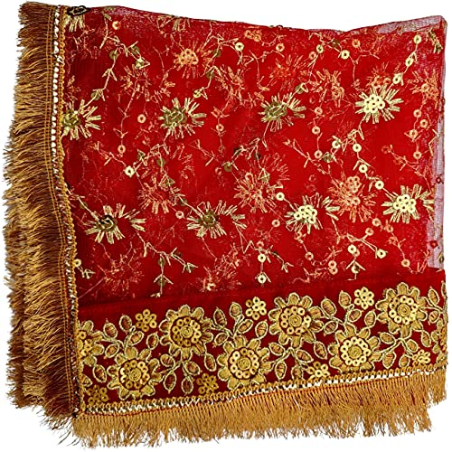 AspKom Navratri Puja Lal Chunari, Handicraft Mata Chuni (Size, Medium), Puja Red Chunari for Navratri, Mata Ki Chunri, Devi Chunri and Navratri Dupatta, Navratri Puja Articles for Chowki, Jagrata