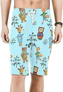 INTERESTPRINT Mens Board Shorts Quick Dry Boho Sun Moon Stars Swimwear Water Shorts XS-6XL