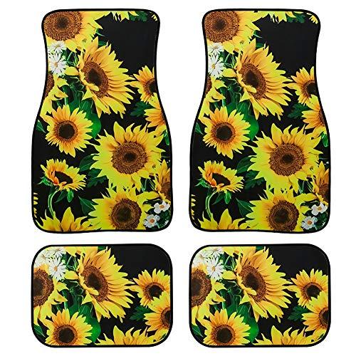 Upetstory Women Clean Car Floor Protector Garage Mat Sunflower Best for Birthday 4 Piece Heavy Duty Car Heel Mat