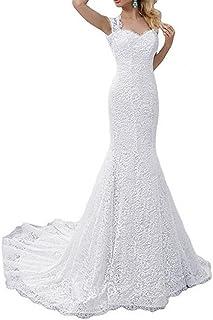 SIQINZHENG Women's White Mermaid Dress Lace Wedding Gowns 2021 Bridal