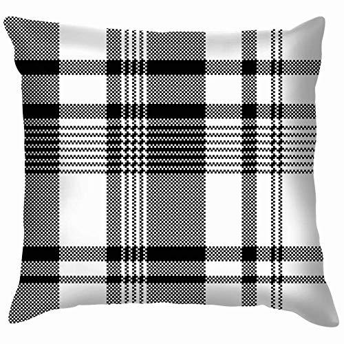 Li Negro Blanco Textura Pixel Asimétrica Tartán Vintage Fundas de Almohadas Accent Home Sofá Funda de Cojín Funda de Almohada Decorativa Regalo de 50,8 x 50,8 cm