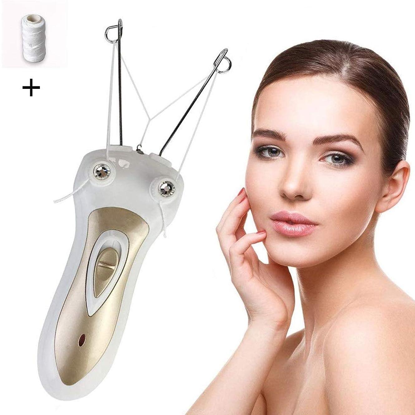 闇にじみ出る分数顔毛リムーバー、電動スレッディング脱毛器、ピーチファズ上唇のあごの毛と口ひげを除去する女性のための眉毛リムーバー、充電式USB