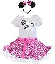 Birthday Girl T-Shirt, Pink-White Polka Dot Dress Tutu, Headband 3 Pcs Outfit Set