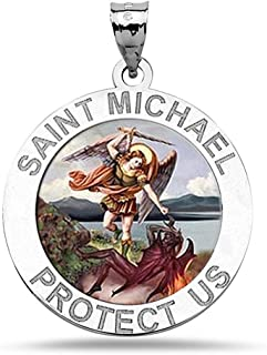 PicturesOnGold.com Saint Michael Religious Medal Color - 3/4 Inch Size of a Nickel in Sterling Silver