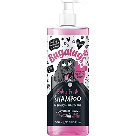 BUGALUGS Baby Fresh Dog Shampoo 500ml dog grooming shampoo products for smelly dogs with baby powder scent, best puppy shampoo baby fresh, shampoo conditioner, Vegan pet shampoo professional (500ml)