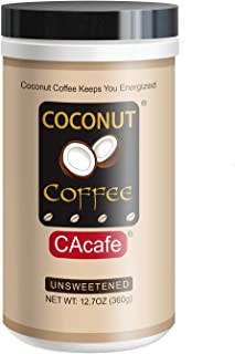 Unsweetened Coconut Coffee - Gluten and Trans Fat Free - All Natural, No Artificial Flavors, Colors, or Preservatives, 12.7oz, 18 Servings