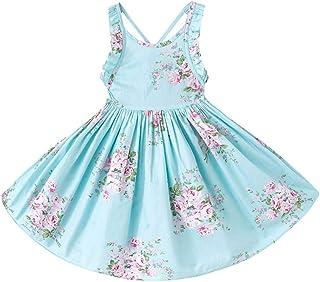 KISSOURBABY Girls Dresses Summer Kids BabyPartyFloral Dress 1-10 Years