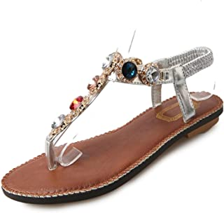Women Rhinestone Flat Slippers Girls Flip Flops Summer Style Non-Slip Shoes Cool Beach Slippers Sandals Zapatos Mujer Size US 9