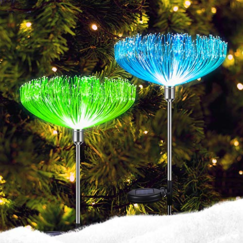 Neporal Multi-Colored Solar Stake Lights Outdoor Decorative IP65 Waterproof Fiber Optic Solar Lighting 2 Pack Solar Garden Light Stakes for Yard Patio Garden Pathway Christmas Decorations