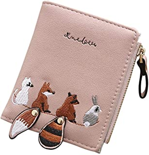 PALAY® Women's Cute Mini Animals Embroidery Short Wallet Card Holder Billfold Purse Wallet Gift for Girls Women
