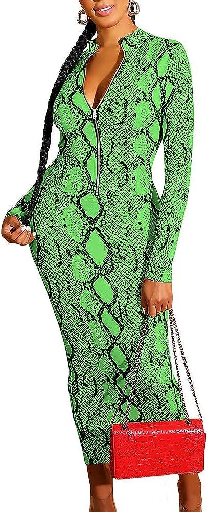 JURIS Women Sexy Snakeskin Print Long Sleeve Zipper Bodycon Party Clubwear Dress