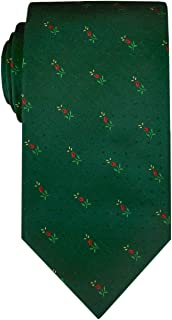 Remo Sartori - Cravatta Verde in Pura Seta Microfantasia Rossa, Made in Italy, Uomo