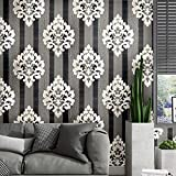 wallpaper pic - Blooming Wall Peel and Stick Modern Black Siver Damasks Wallpaper Wall Decor Vinyl Self Adhesive Contact Paper Decorative (48 Square Ft/Roll)