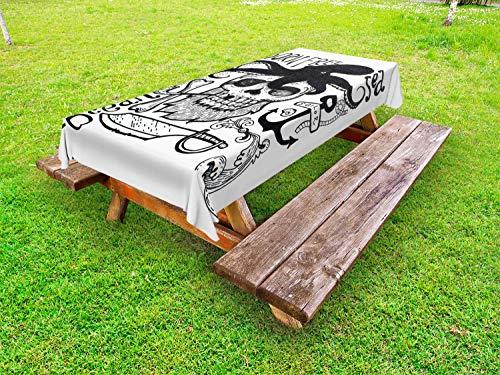 ABAKUHAUS Vintage Nautical Tattoo Tafelkleed voor Buitengebruik, Pipe Smoker Skull, Decoratief Wasbaar Tafelkleed voor Picknicktafel, 58 x 84 cm, Grijs en Witte Houtskool