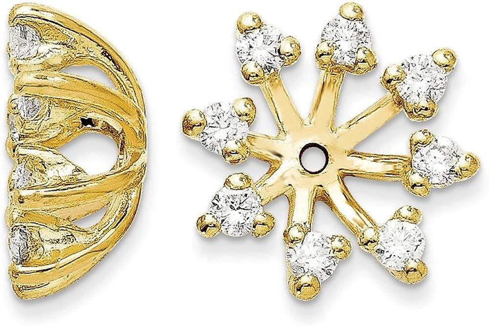 Solid 14k Yellow Gold Diamond Earring Jacket 13mm (.56 cttw.)